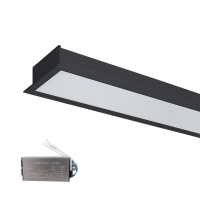 LED PROFILES RECESSED MOUNTING S48 32W 4000K 1500MM BLACK+EMERGEMCY KIT