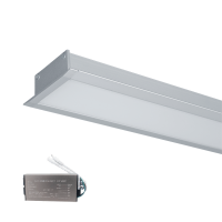LED PROFILES RECESSED MOUNTING S48 32W 4000K 1500MM GREY+EMERGEMCY KIT